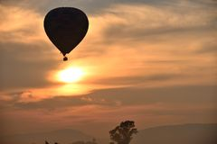 Mountain Range Balloons. Early morning balloon safari over Magaliesberg Mountains Gauteng South AFrica Stock Image
