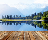 Mountain Range and a Body of Water.  Royalty Free Stock Images