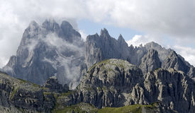 Mountain range Cadini-group. Cadini-group from the mountain shelter Refugio Auronzo, Trentino, South, Tyrol, Italy Stock Images