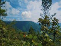 Mountain range at the caldera lake toba stock images