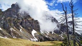 Mountain range Churfirsten above Lake Walensee stock photos