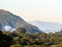 Mountain range and clouds in Asturias Camino del Norte, the Northern Way of Saint James in Spain. Europe royalty free stock image