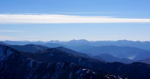 Mountain range clouds panoramic landscape. On day view Royalty Free Stock Photography