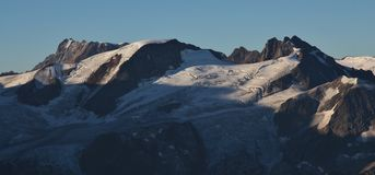 Mountain range covered by glacier, view from mount Titlis Stock Image
