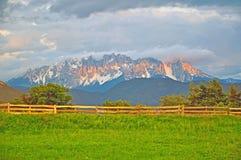 Mountain range in Dolomites on sunset stock photography