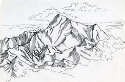 Mountain range drawin in ink Royalty Free Stock Photography