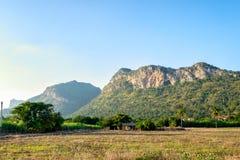 Mountain range and farmland Royalty Free Stock Photos
