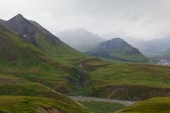 Mountain range in the fog, Denali national park Royalty Free Stock Photography