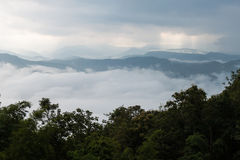 Mountain range with fog. Royalty Free Stock Images
