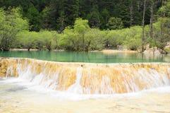 Mountain range forest river Stock Photos