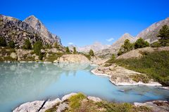 Mountain Range and Glacial Lake Stock Photo