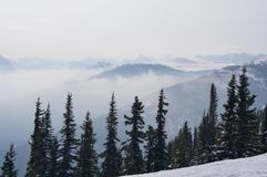 Mountain Range Haze in Winter, Jasper Stock Photo