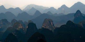 Mountain range image of Guilin at sunset Stock Image