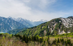 Mountain range at japan alps tateyama kurobe alpine route royalty free stock images