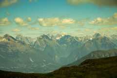 Mountain Range of the Julian Alps. View from Kobariski Stol. Royalty Free Stock Images