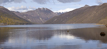 Mountain range and lake near mt. St Helen's WA. Royalty Free Stock Images