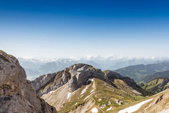 Mountain Range Landscape with Blue Sky from Pilatus Peak Royalty Free Stock Images