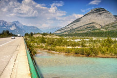 Mountain Range Landscape and Highway, Canada royalty free stock photo