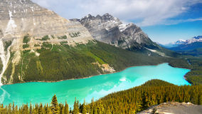 Canada, Banff National Park, Peyto Lake Mountains Panorama. Scenic panorama landscape view of mountains and Peyto Lake. Banff National Park, Canadian Rockies Royalty Free Stock Image