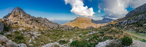 Mountain range landscape panorama of Sierra de Tramuntana on Majorca island royalty free stock image