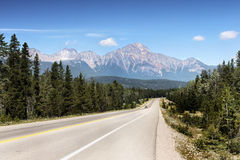 Mountain Range landscape, Rocky Mountains, Canada. Rocky Mountains, Canada. Mountain range landscape and road view. Canadian Rockies, National Parks royalty free stock images