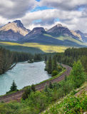 Mountain Range Landscape, Train Track, Canada stock photos