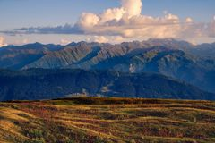Mountain range landscape view with with beautiful sunset clouds, Svaneti, Georgia Stock Photography