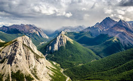 Mountain range landscape view in Jasper NP, Canada Royalty Free Stock Image