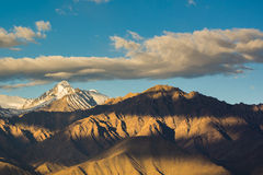 Mountain Range in Leh Ladakh. Leh, a high-desert city in the Himalayas, is the capital of the Leh region in northern India's Jammu and Kashmir state Stock Photos