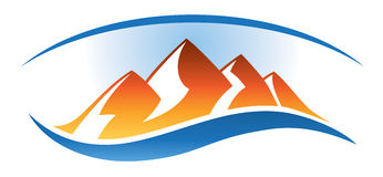 Mountain Range Logo. A logo icon of a mountain range in the distance vector illustration