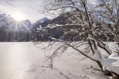 Mountain range Mangart seen from snow covert frozen lake Fusine. With sunbeam Stock Images