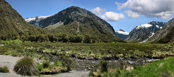 Mountain range at the Milford Road Stock Photo