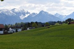 Mountain Range, Mountainous Landforms, Grassland, Sky royalty free stock photo