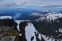 Mountain range. Mt Skåla 1848m in Norway. Picture taken august 2015 Stock Photos