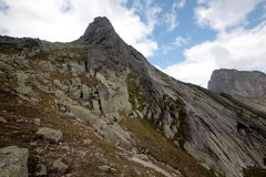 A mountain range in the natural Park Ergaki royalty free stock photos