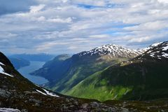 Mountain range. Near Loen, Norway. Hiking to Mt Skåla 1848m Royalty Free Stock Images
