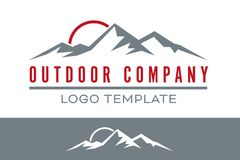 Mountain range outdoor company vector logo template Stock Illustration