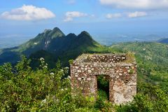 Haiti UNESCO site. Mountain range over Haiti and remains of the French Citadelle la ferriere built on the top of a mountain stock photo