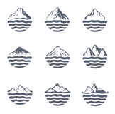 Mountain range over a lake, sea or ocean, outdoor logo set, vector illustration. Mountain range or island over a lake, sea or ocean, outdoor logo set, vector vector illustration