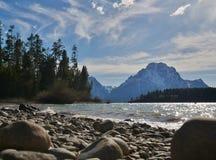 Jackson Lake, Grand Teton National Park, Wyoming. Mountain range overlooking Jackson Lake in Grand Teton National Park, Wyoming royalty free stock images