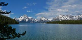 Jackson Lake, Grand Teton National Park, Wyoming. Mountain range overlooking Jackson Lake in Grand Teton National Park, Wyoming stock photo