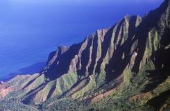Mountain Range By the Pacific Ocean, Kauai, Hawaii royalty free stock photography