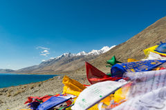 Mountain range at Pangong Lake.Light and shade from runrise.Blur. Pangong Tso, Tibetan for long, narrow, enchanted lake, also referred to as Pangong Lake, is an Royalty Free Stock Photography