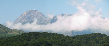 Mountain range panorama with clouds Royalty Free Stock Images