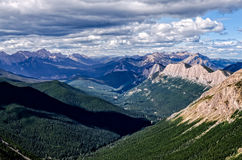 Mountain range panorama with lake in Banff national park, Canada Royalty Free Stock Image