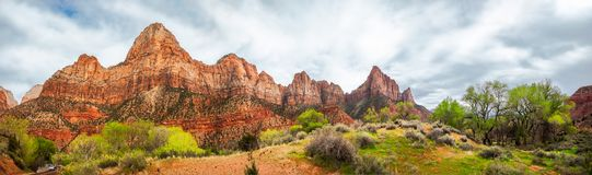 Zion View Panorama in Spring. Mountain Range Panorama in spring at Zion National Park, Utah, USA - Park South Entrance from Springville Royalty Free Stock Photos