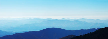 Mountain range. Panorama view of smoky mountain range in blue Stock Image
