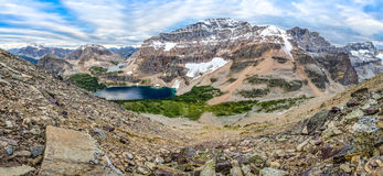 Mountain Range Panorama With Lake In Banff National Park, Canada Royalty Free Stock Photography