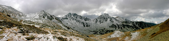 Mountain range Pirin. A small part of Pirin Mountain in south Bulgaria. Panorama view Royalty Free Stock Photo