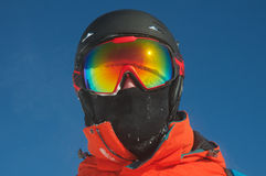 A mountain range reflected in the ski mask. Winter mountain landscape and ski slope reflected in a ski mask. Selective focus Royalty Free Stock Image